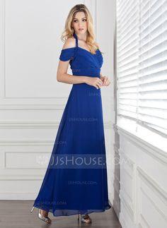 A-Linie/Princess-Linie Träger Knöchellang Chiffon Abendkleid mit Rüschen (017005287) - JJsHouse