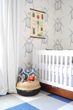 Before & After: A Nursery Inspired By Wallpaper – Design*Sponge Jungle Nursery, Baby Nursery Decor, Nursery Design, Toddler Rooms, Baby Boy Rooms, Kids Rooms, Boys Room Wallpaper, Nursery Inspiration, Kid Spaces