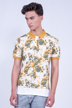 Regular Fit Polo Shirt In Floral Print