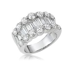 Magnificent Baguette and Round Diamond Band Ring. #WideBaguetteRing