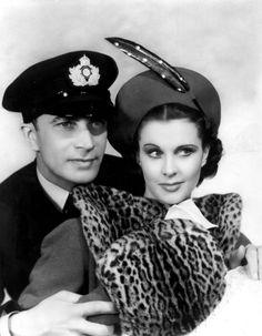 "Vivien Leigh and Conrad Veidt in ""Dark Journey"" 1937. #leopard print"