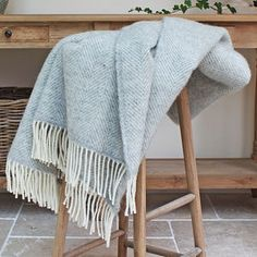 Grey And Cream Herringbone Wool Throw