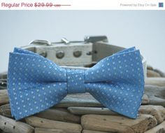 Dog Bow Tie With Leather Collar  Blue Wedding Dog by LADogStore, $20.99