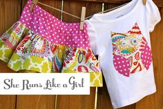 Spring Owl Shirt and Skirt Set by sherunslikeagirl on Etsy, $52.00