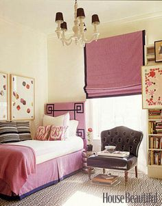 This would make such a classy room for a teenage girl.  I wish my room had looked this good!  (Could maybe even see it as a really involved dorm room...you know, if you didn't share it.)