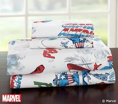 Captain America Sheeting #pbkids The bedding Kaysen picked out for his BIG boy rom!