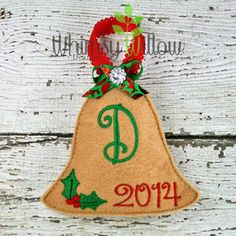 Stuffed Bell Ornament ITH Embroidery Design by WhimsyWillowEmb