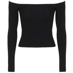 Topshop Off the Shoulder Top ($68) ❤ liked on Polyvore featuring tops, rayon tops, long sleeve tops, long sleeve jersey top, stretchy tops and off the shoulder tops