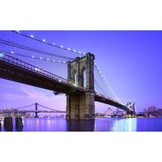Northlight in. LED Lighted Famous New York City Brooklyn Bridge Canvas Wall Art 32021545 - The Home Depot San Francisco At Night, Unique Wall Art, George Washington Bridge, Brooklyn Bridge, Dusk, New York City, Canvas Wall Art, Skyline, Led