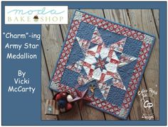 Charm-ing Army Star Medallion « Moda Bake Shop 20 x 20 in quilt Star Quilts, Easy Quilts, Mini Quilts, Quilting Tutorials, Quilting Projects, Quilting Tips, Sewing Tutorials, Sewing Ideas, Skinny Quilts