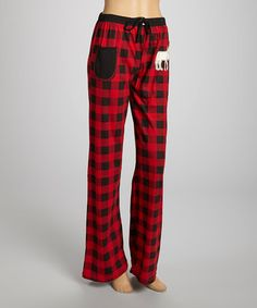 Take a look at this Red Plaid Moose Yoga Pants - Women by Lazy One on #zulily today!