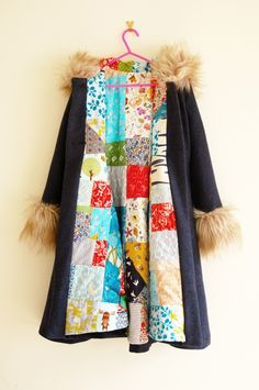 girl's coat with quilted patchwork lining