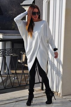 Oversize Twisted Tunic Top/ Loose  Tunic/ long by ANISHAR on Etsy, $69.00