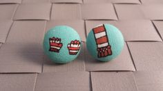 Items similar to Cozy Scarf and Gloves Fabric Covered Button Post Earrings Inch] on Etsy Fabric Covered Button, Covered Buttons, Cozy Scarf, Button Earrings, Gloves, Mittens