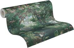 A.S Creation Tropical Jungle Forest Tree Birds Scenery Wallpaper Textured Vinyl - Default Title