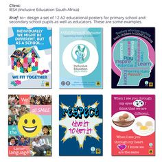 #graphic design #poster design. Inclusive Education South Africa Brochure Cover, Brochure Design, Secondary School, Primary School, Inclusive Education, Packaging, Branding, Layout, South Africa