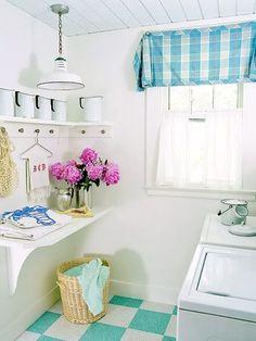 laundry room shelf with hooks underneath