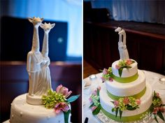 pink and green wedding cake with giraffe cake topper