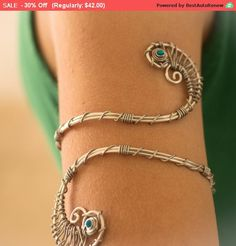 Silver Arm Cuff Tourquize Upper Bracelet Womens Wrap Spiral Boho