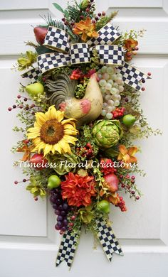Tuscan Rooster Swag from Timeless Floral Creations. http://www.timelessfloralcreations.com/ https://www.facebook.com/timelesswreaths