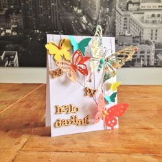 """Hello Darling Card. Cardstock: Folia, SU; DP: Kaisercraft, Crate Paper; dies/punches: Magnolia Doohickey (""""Butterfly""""), Whiff of Joy (""""Große Schmetterlinge""""); SU (""""Elegant Butterfly"""", """"Bitty Butterfly"""", """"Beautiful Wings""""); wood veneers & enamel dots from my stash."""