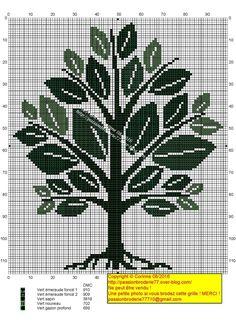green tree Butterfly Cross Stitch, Cross Stitch Tree, Cross Stitch Samplers, Cross Stitch Flowers, Cross Stitch Charts, Cross Stitching, Blackwork Embroidery, Cross Stitch Embroidery, Modern Cross Stitch Patterns