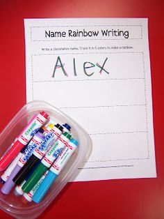 Name rainbow writing- change it and make it a sight word rainbow writing activity for the beginning of the year. Kindergarten Names, Beginning Of Kindergarten, Center Ideas For Kindergarten, Kindergarten Literacy Centers, Preschool Names, Kindergarten Classroom, Kindergarten Reading, Kindergarten Language Arts, Preschool Ideas