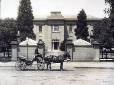 """Royal Hobart Hospital, the """"Colonial"""" front entrance, Liverpool St 1880."""