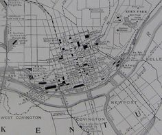 RARE Size CINCINNATI Map of Cincinnati Ohio 1927 by plaindealing