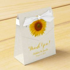 Yellow Sunflower Flower White Lace Personalized Wedding Thank You Favor Box. Perfect for summer or fall / autumn weddings or bridal showers. Great for a country, rustic, or barn themed wedding as well. Change out the bride and groom's name and the wedding date.
