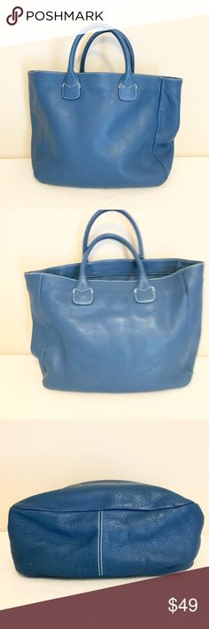 """Ann Taylor Blue Leather Tote Bag Authentic blue vintage pebbled leather tote bag by Ann Taylor.  17.5""""L x 12""""H x 4.75""""W.   Interior organization pockets.  There are some small blemishes that are shown in the photos.  Otherwise excellent condition! Ann Taylor Bags Totes"""