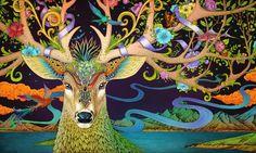 春鹿 Rlon Wang Illustration of Spring Deer Illustration Artists, Art And Illustration, Deer Art, Moose Art, Art Asiatique, Illustrations, Mythical Creatures, Folk Art, Fantasy Art