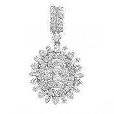 1.16ct 18k White Gold Diamond Pendant Necklace - allurez.com