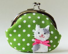 Coin purse cat on green polka dots by oktak on Etsy, $33.00