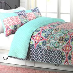 Cynthia Rowley Patchwork Queen Quilt 3pc Set Polka Dot Pink Purple Aqua Teal | eBay