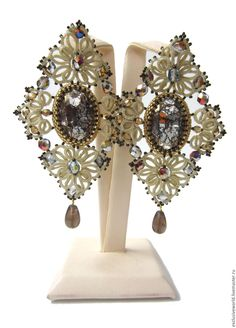 """Купить Серьги """"Инфанта"""" с кристаллами Сваровски - золотой, украшение, серьги, сережки, серьги крупные"""