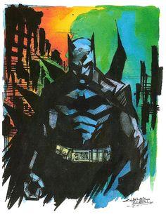 """Watercolor Dark Knight""  by ~KidNotorious -  Fan Art / Cartoons & Comics / Traditional / Miscellaneous (Batman)"