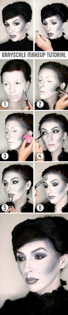 Keiko Lynn's grayscale makeup tutorial / black and white Halloween makeup.