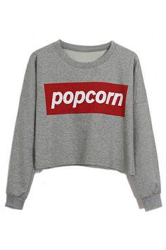 ROMWE | ROMWE Popcorn Print Grey Sweatshirt, The Latest Street Fashion