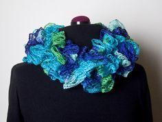 Flounce Ruffle Scarf - Aqua green & blue  by CityGirlCreations98.etsy.com