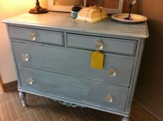 shabby chic cottage dresser - water-based coastal blue paint and finished with a faux metallic silver glaze.