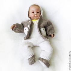 Купить костюм вязаный, комплект для мальчика, бежевый, белый - Вязаный комплект, вязаный костюм