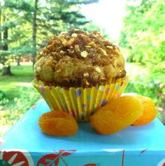 Gluten Free Dairy Free Apricot Muffins with Almond Streusel