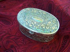 Vintage ring box red velvet lined Silver  tone metal  by Marsi10, $20.00