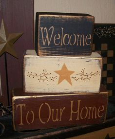 WELCOME TO OUR HOME PRIMITIVE BLOCK SIGN SIGNS