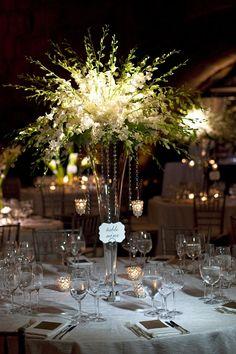 Tall, White Dendrobium Centerpiece | Event Planning & Design: tracytaylorward.com | Photography: lunaphoto.com | Wedding Venue: Guastavino's