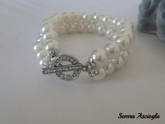 Brides bridesmaids gifts Ivory  Pearl Bracelet  with Swarovski  Crystal Clasp via Etsy