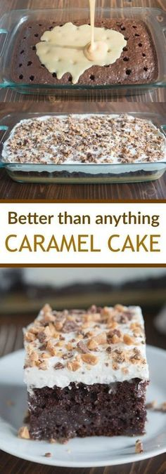 than Anything Cake made with caramel sauce and fresh whipped cream. This Better than Anything Cake made with caramel sauce and fresh whipped cream. -Better than Anything Cake made with caramel sauce and fresh whipped cream. Food Cakes, Cupcake Cakes, 13 Desserts, Delicious Desserts, Yummy Food, Healthy Desserts, Carmel Desserts Easy, Healthy Recipes, Caramel Deserts