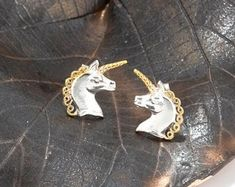 Unicorn earrings sterling | Etsy Fantasy Jewelry, Unicorn, Brooch, Earrings, Etsy, Ear Rings, Stud Earrings, A Unicorn, Ear Piercings