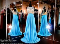 Aqua Chffon Prom Dress-Beaded High Neckline-Keyhole Back-116BP0110880